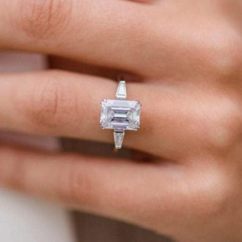 Emerald Cut Baguette Moissanite Wedding Ring Wedding Ring HK Jewellers