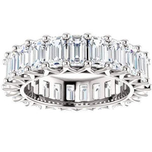 Emerald Cut Moissanite Wedding Band Full Eternity Band HK Jewellers