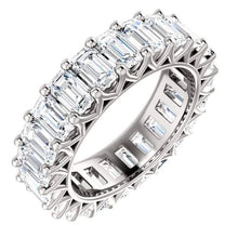 Load image into Gallery viewer, Emerald Cut Moissanite Wedding Band Full Eternity Band HK Jewellers
