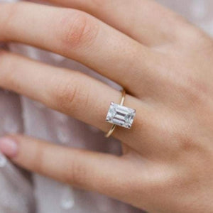 Emerald Cut Moissanite Wedding Ring Diamond Ring HK Jewellers