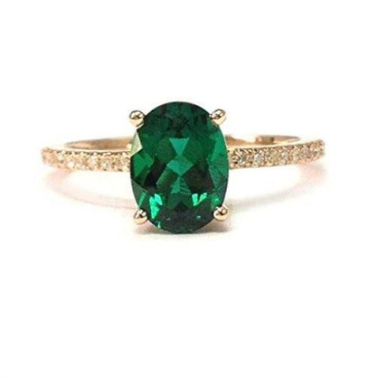 Emerald Wedding Engagement Diamond Ring 14 k Solid Gold May Birthstone Gift Gemstone Ring HK Jewellers