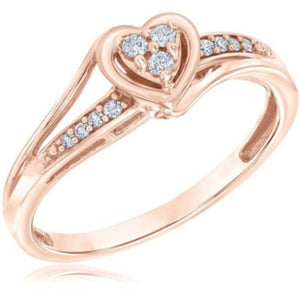 Engagement Wedding Diamond Accent Hearts Promise Ring in 14K Gold Rose Gold White Gold Heart Ring Promise Ring HK Jewellers