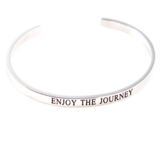 Enjoy The Journey Inspiring Solid Silver Cuff Bracelet Gold Filled Jewelry Gift For Friend Personalised Bracelet HK Jewellers