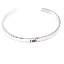 Load image into Gallery viewer, Faith Believe Inspiring Silver Cuff Bracelet Gold Filled Jewelry Gift For Friend Love Family Personalised Bracelet HK Jewellers