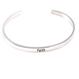Faith Believe Inspiring Silver Cuff Bracelet Gold Filled Jewelry Gift For Friend Love Family Personalised Bracelet HK Jewellers