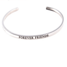 Load image into Gallery viewer, Forever Friends Solid Silver Engraved Cuff Bracelet Gold Filled Jewelry Gift For Friend Personalised Bracelet HK Jewellers