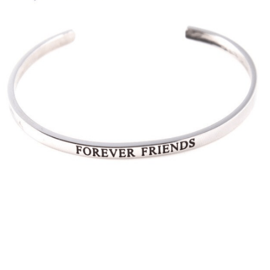Forever Friends Solid Silver Engraved Cuff Bracelet Gold Filled Jewelry Gift For Friend Personalised Bracelet HK Jewellers
