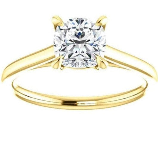Four Claw Cushion Solitaire Engagement Ring Wedding Ring HK Jewellers