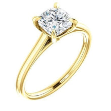 Load image into Gallery viewer, Four Claw Cushion Solitaire Engagement Ring Wedding Ring HK Jewellers