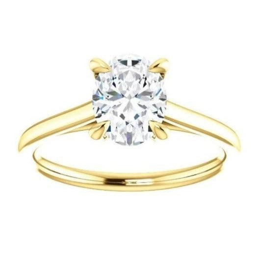 Four Claw Oval Moissanite Engagement Ring Wedding Ring HK Jewellers