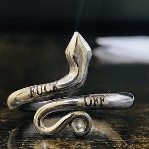 FUCK OFF Personalized Inspirational Ring for Best Friend Custom Jewelry Snake Ring HK Jewellers