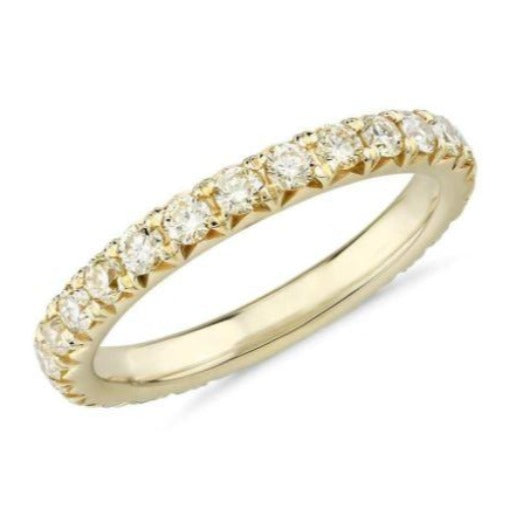 Full Eternity 2 mm Band in Yellow Gold 14 k Solid Natural Diamond Women Wedding Band Wedding Band HK Jewellers