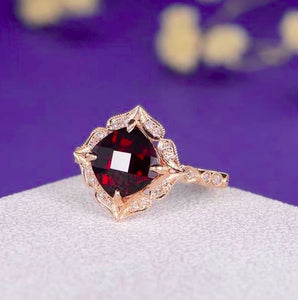 Garnet Vintage Statement Ring Garnet Engagement Ring HK Jewellers