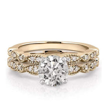 Load image into Gallery viewer, Gold Moissanite Wedding Ring Set Wedding Ring HKJ Wedding Ring