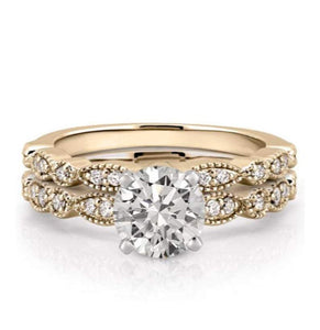 Gold Moissanite Wedding Ring Set Wedding Ring HKJ Wedding Ring