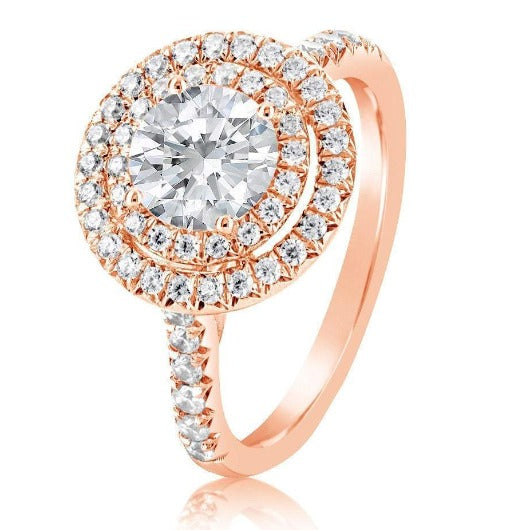 Halo Diamond Moissanite Engagement Ring Wedding Ring HK Jewellers