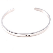 Load image into Gallery viewer, Hope Motivation Inspiring 925 Silver Cuff Bracelet Gold Filled Jewelry Gift For Friend Personalised Bracelet HK Jewellers