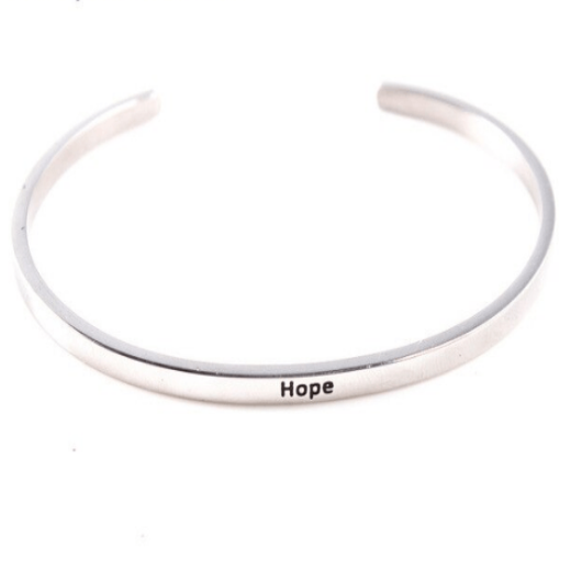 Hope Motivation Inspiring 925 Silver Cuff Bracelet Gold Filled Jewelry Gift For Friend Personalised Bracelet HK Jewellers
