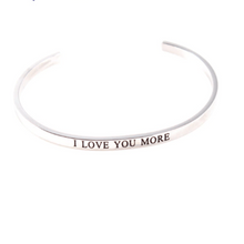 Load image into Gallery viewer, I Love You Cuff Bracelet 925 Solid Sterling Silver Gold Filled Jewelry Gift For Love Mother Personalised Bracelet HK Jewellers