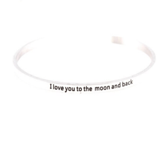 I Love You To The Moon And Back Cuff Bracelet Solid Silver Engraved Gold Filled Jewelry Personalised Bracelet HK Jewellers