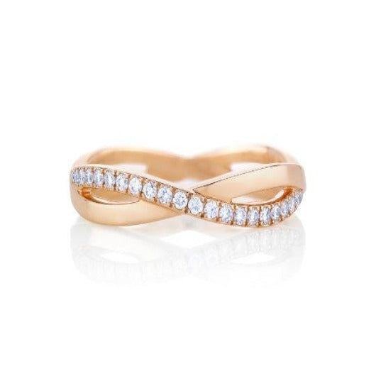 Infinity Diamond Full Eternity Band Solid Gold 14 k Women Band Love Sign Gift For Her Wedding Band HK Jewellers US 0 Rose Gold