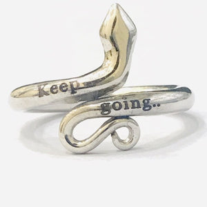 Keep Going Motivation Inspirational Silver Jewelry, Love Gift Custom Jewelry Snake Ring HK Jewellers
