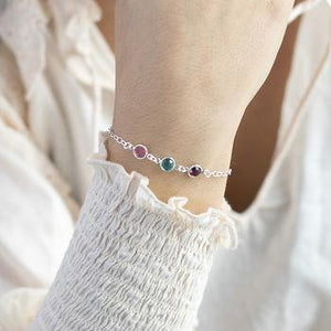 Link Birthstone Silver Bracelet Family Generation Jewelry For Bridesmaid Gold Filled Jewelry