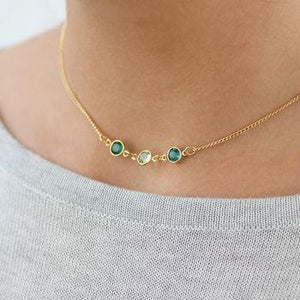 Link Birthstone Silver Necklace Family Generation Jewelry For Bridesmaid Three Birthstone Necklace HK Jewellers