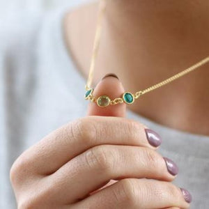 Link Birthstone Silver Necklace Family Generation Jewelry For Bridesmaid Three Birthstone Necklace HK Jewellers Gold