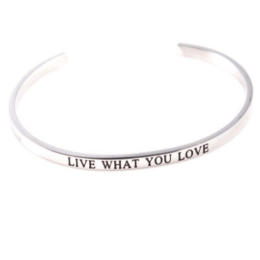Live Life Love Message Motivational Cuff Bracelet Solid Silver Gold Filled Jewelry Gift Personalised Bracelet HK Jewellers