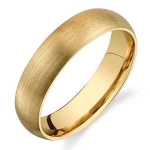 Men Wedding Anniversary Engagement Engraved Band 14K Solid Gold Band Matte Brushed Rounded Dome Wedding Band HK Jewellers