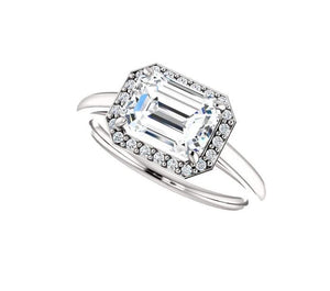 Moissanite Emerald Cut Engagement Band Women Band HK Jewellers