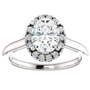 Moissanite Halo Engagement Ring Engagement Ring HK Jewellers