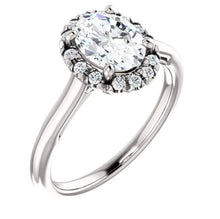 Load image into Gallery viewer, Moissanite Halo Engagement Ring Engagement Ring HK Jewellers