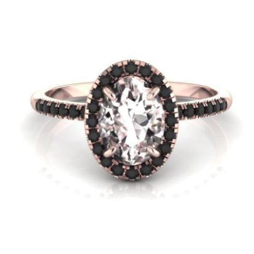 Morganite Wedding Engagement Black Diamond Anniversary Ring 14 k Solid Gold Diamond Ring HK Jewellers
