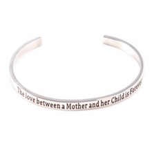 Load image into Gallery viewer, Mother Son Relationship Message Cuff Bracelet Solid 925 Silver Gold Filled Jewelry Gift Personalised Bracelet HK Jewellers