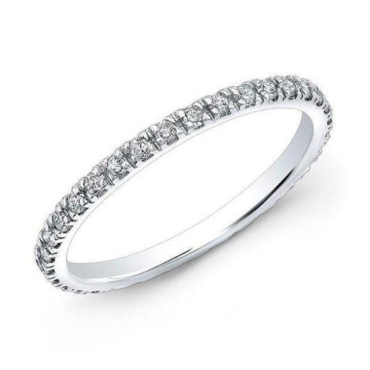 Natural Diamond Full Eternity 1 mm Stacking Band in 14 k Solid White Gold Women Wedding Band Women Band HK Jewellers