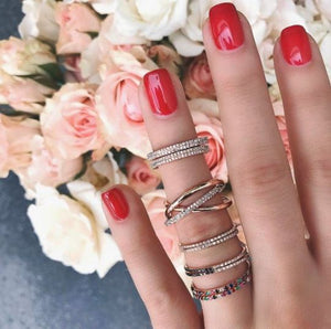 Natural Diamond Layered Full Eternity Band Women Ring in 14 k Solid Gold Anniversary & Engagement Jewelry Full Eternity Band HK Jewellers