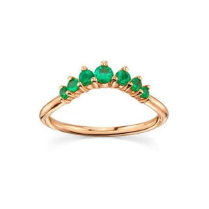 Natural Emerald Queen Ring Emerald Ring HK Jewellers US 0 Rose Gold