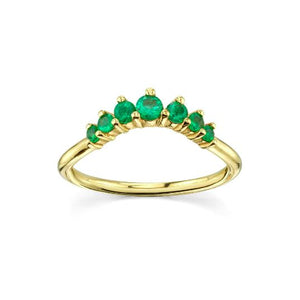 Natural Emerald Queen Ring Emerald Ring HK Jewellers US 0 Yellow Gold