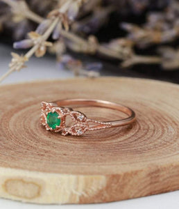 Natural Zambia Emerald Diamond Engagement Ring Gemstone Ring HK Jewellers