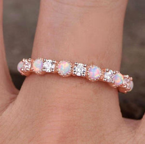 Opal Diamond Wedding Band Half Eternity Band HK Jewellers