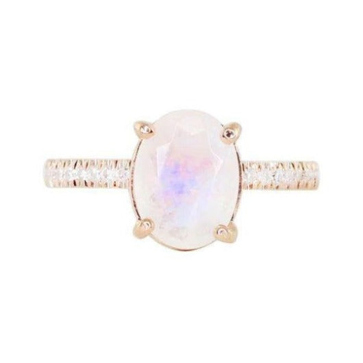 Oval Moonstone Natural Diamond Wedding Engagement Ring 14 k Solid Gold Gemstone Ring HK Jewellers