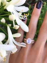 Load image into Gallery viewer, Oval Moonstone Natural Diamond Wedding Engagement Ring 14 k Solid Gold Gemstone Ring HK Jewellers