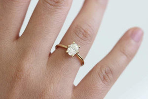 Oval Shape Simulated Diamond Gold Ring Wedding Ring HK Jewellers