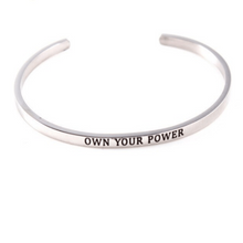 Load image into Gallery viewer, Own Your Power Inspiration Solid Silver Cuff Bracelet Gold Filled Jewelry Gift For Love Friend Personalised Bracelet HK Jewellers