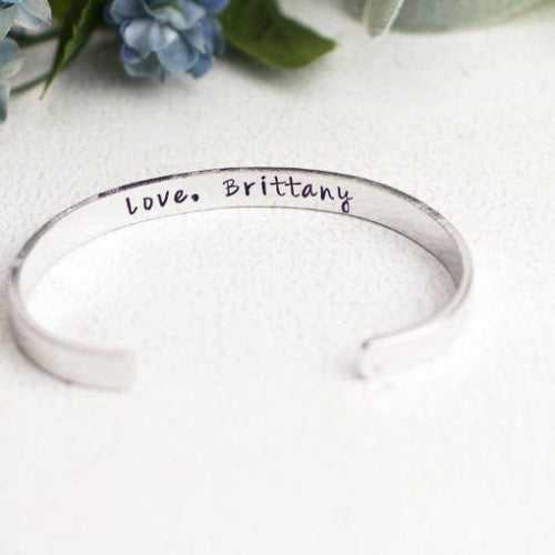 Personalised Cuff Bracelet Bangle Engraved Silver Jewelry Men Women Wedding Gift Personalised Bracelet HK Jewellers