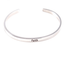Load image into Gallery viewer, Personalised Message Cuff Bracelet Motivation Faith Jewelry Sterling Silver Gold Filled Jewelry Personalised Bracelet HK Jewellers