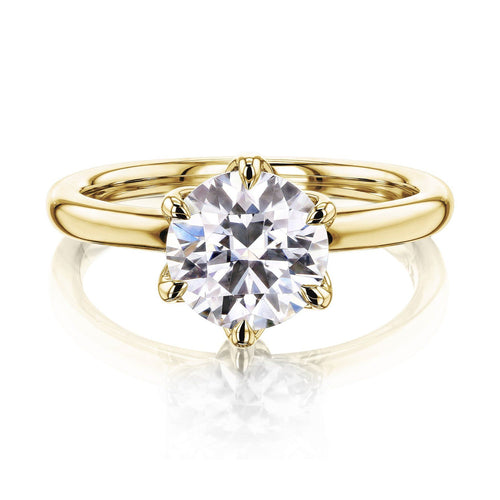 Prong Solitaire Moissanite Ring Moissanite Engagement Ring HK Jewellers 925 Silver Yellow Gold US 3