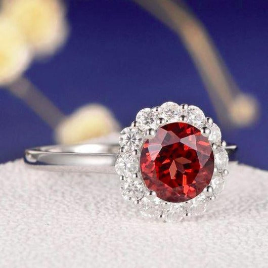 Red Garnet Engagement Ring Garnet Engagement Ring HK Jewellers